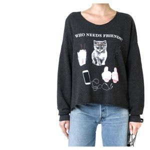Wildfox Who Needs Friends Pullover Sweater